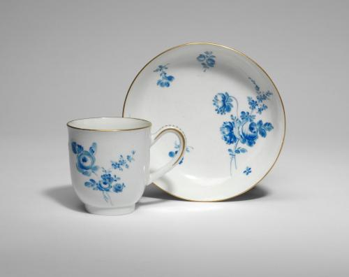 A Worcester Cup and Saucer with Blue Flowers
