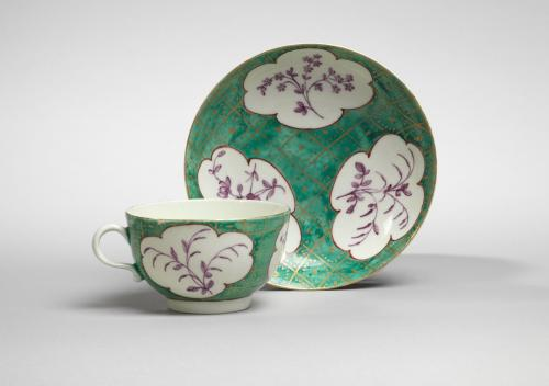 A Worcester Cup and Saucer in Jade Green