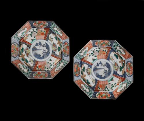 A Pair of 19th Century Chinese Octagonal Imari Chargers
