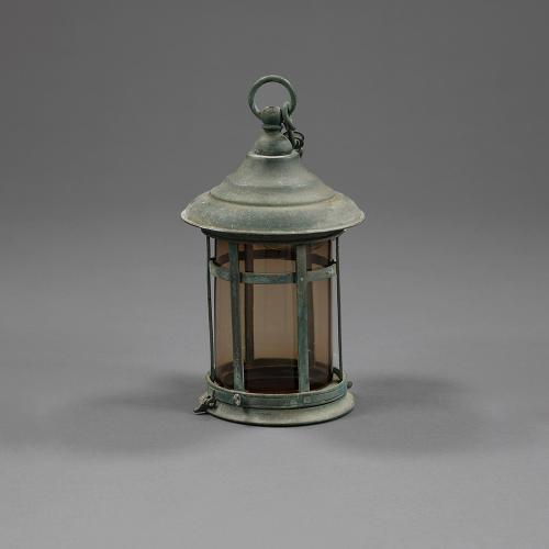 A small bronze Arts and Crafts period hanging lantern