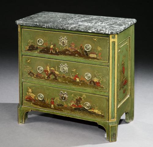 A Louis XV Green Japanned Chest of Drawers