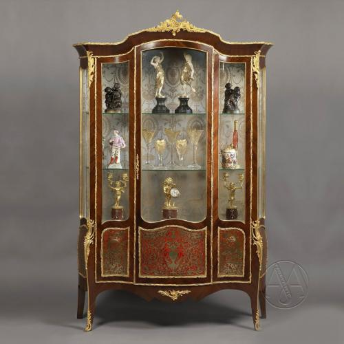 A Louis XV Style Vitrine With Boulle Marquetry Panels