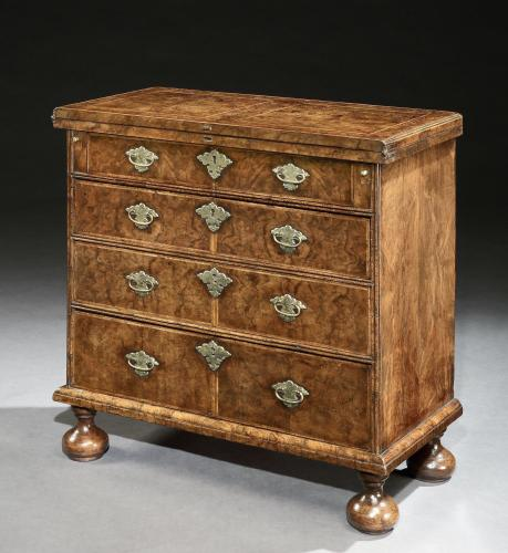A George I Burr Walnut Bachelors Chest