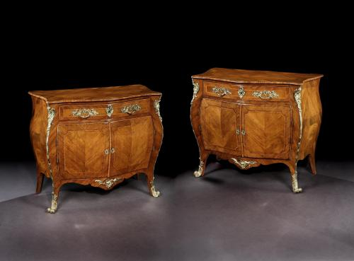 Pierre Langlois: A Pair of George III Bombe Commodes