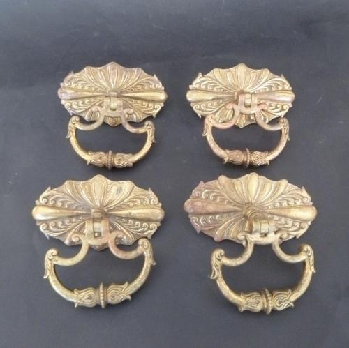 Victorian gilt brass antique cabinet handles