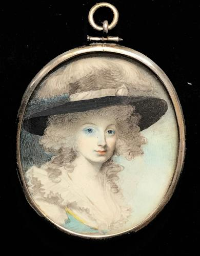 An Attractive Portrait Of Mrs. Hamilton, Attributed George Engleheart, circa 1800