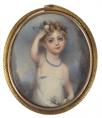 A Portrait Miniature Of A Young Girl, Possibly The Artist's Own Child, Anne Mee, circa 1805
