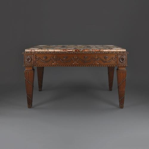 A late 18th century French side table with a Florentine specimen marble top