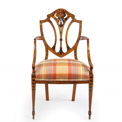 A late Victorian Sheraton revival painted satinwood armchair