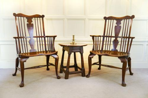 Two Fine and Rare 18th Century Comb Back Windsor Armchairs