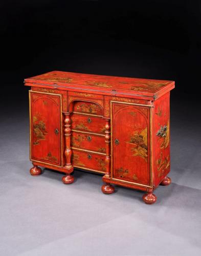 A Queen Anne Scarlet Japanned Bachelors Chest