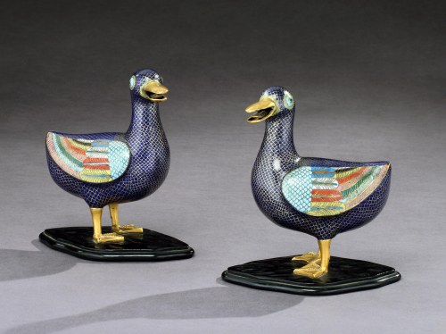A Pair of Cloisonné Ducks