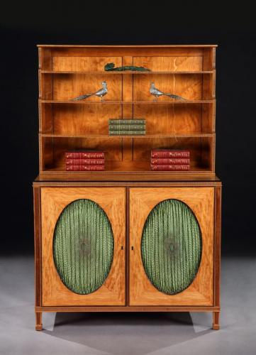 A George III Satinwood Cabinet Bookcase