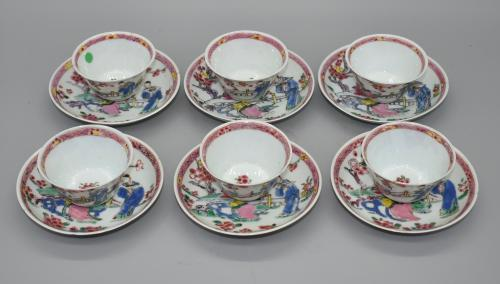 Depicting figures in a garden scene, decorated with overglaze polychrome enamels.  China  Yongzheng/Qianlong Reign: 18th century  Cup: H: 3.5cm D: 6.3cm   Saucer: 10.3cm D