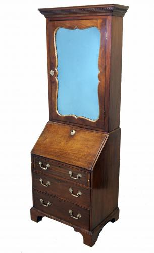 Georgian English Small Mahogany Bureau Bookcase
