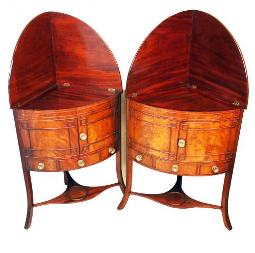 Georgian Mahogany Pair Of Bowfronted Corner Washstands