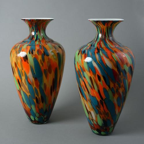 A pair of large multi-coloured italian glass vases
