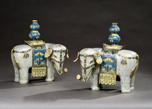 A Pair of Cloisonné Elephants