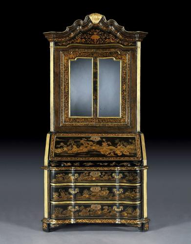 A Chinese Export Lacquer Bureau Cabinet