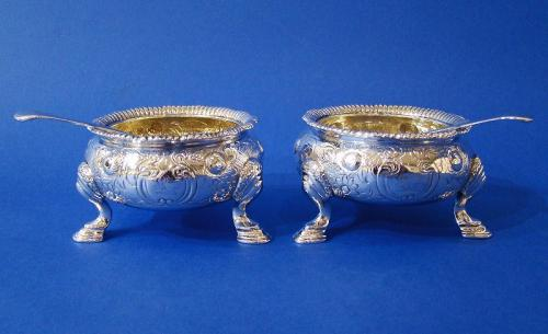 Pair of Large William IV Silver Salt Cellars