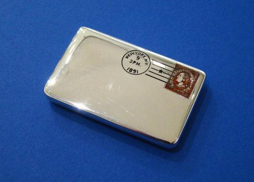 American Silver & Red and Black Enamel 'Envelope' Double Stamp Case
