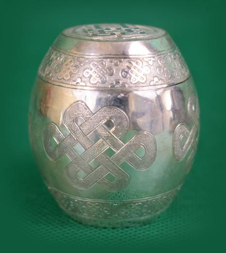 Chinese barrel shape silver box
