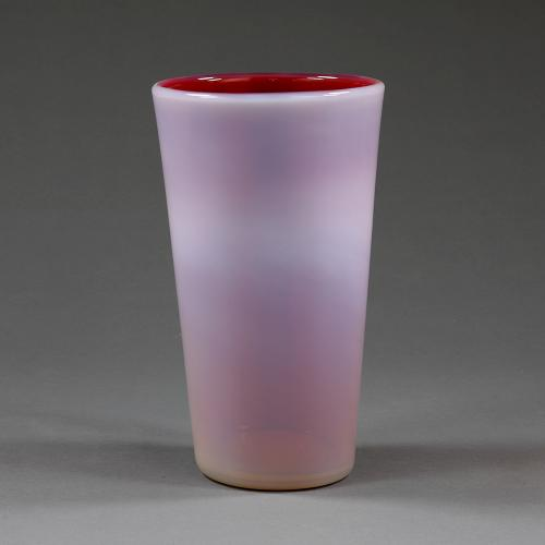 An early 20th century red opaline vase by Seguso Milano