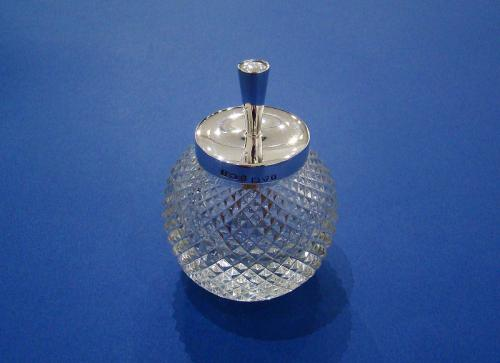 Edwardian Silver & Glass Gum/Glue or Stamp Moistener Pot