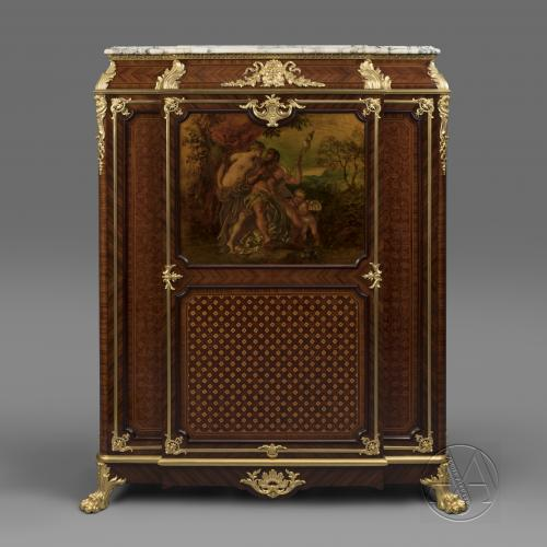 An Exceptional and Very Rare Louis XV Style Gilt-Bronze And Vernis Martin Mounted Parquetry Side Cabinet by Maison Krieger