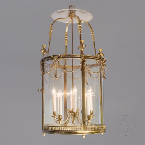 A Large Louis XVI Style Gilt-Bronze Cylindrical Eight-Light Lantern After the Model at Fontainebleau