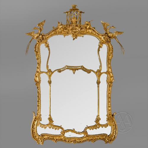 A Very Large and Finely Carved George II Style  Giltwood Mirror