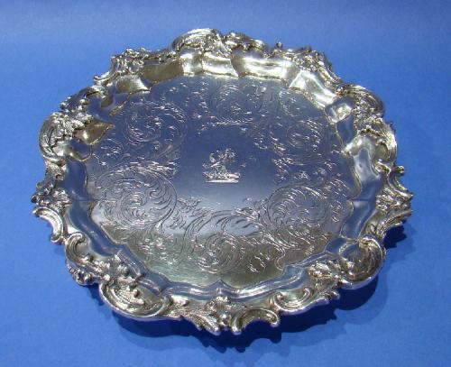 Early Victorian Silver Waiter with Rococo Decoration