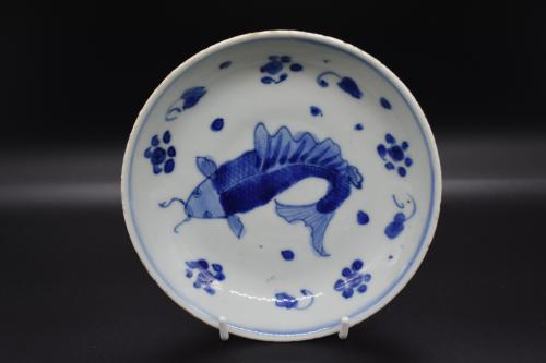 Tianqi period blue and white Koi-carp dish