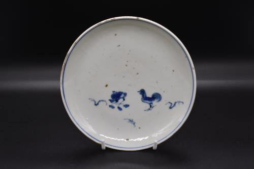 Tianqi period blue and white rooster dish