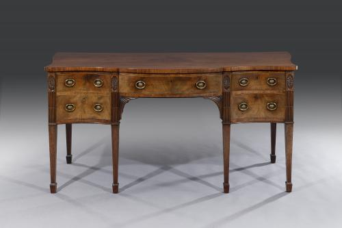 George III 18th Century Breakfront Serpentine Mahogany Sideboard by Gillows of London