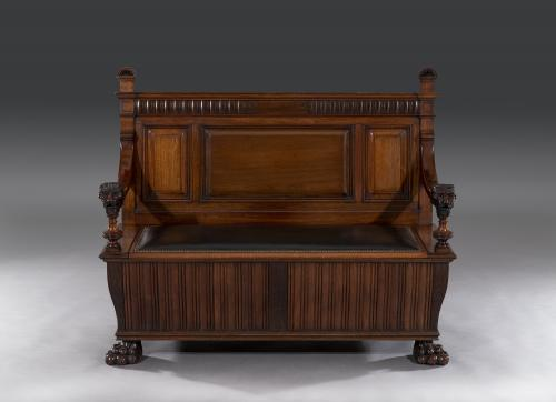 Stunning Victorian Aesthetic Carved Walnut Hall Seat Bench Attributable to Gillows of Lancaster & London