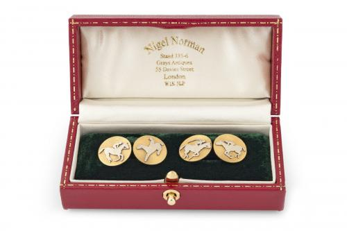 Antique Cufflinks of Racehorses in Platinum and 18 Karat Gold, French circa 1900
