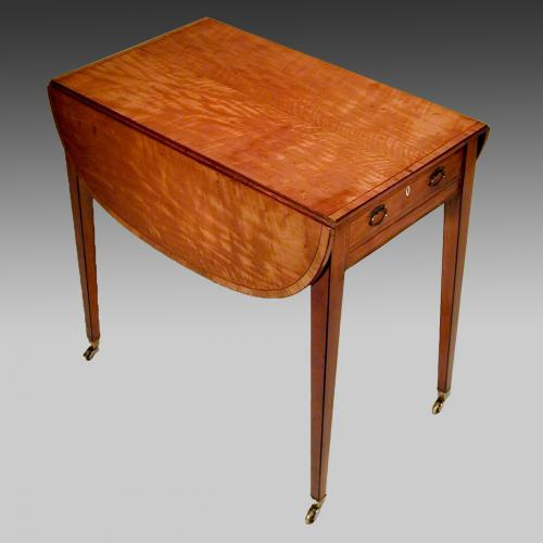 8717 - small 18th century Sheraton satinwood Pembroke table 1.jpg