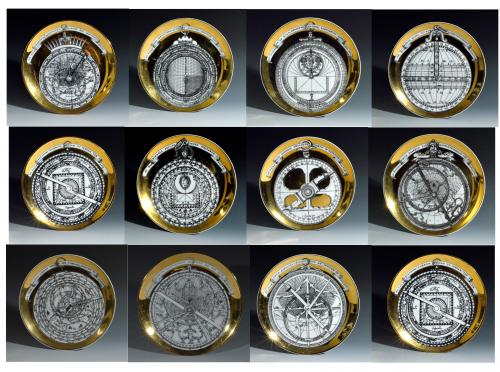 Vintage Piero Fornasetti Porcelain Astrolabe Complete Set of Twelve Plates