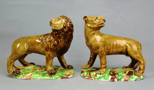 18th Century English Pottery Pearlware  Lion & Lioness Figures- Ralph Wood Type