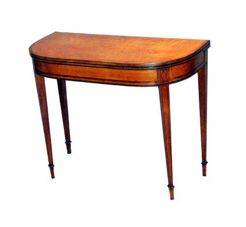 Georgian 18th Century Satinwood Card Table (England, circa 1790)