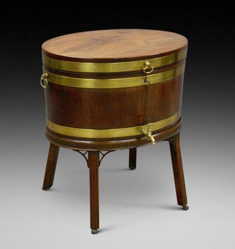 George III mahogany oval brass bound wine cooler of the Adam period