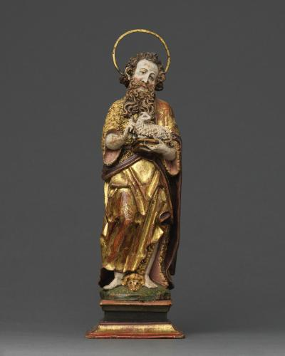 Saint John the Baptist, Limewood, with original polychrome and gilding