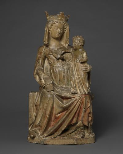 Enthroned Virgin and Child, Limestone, with original polychrome and gilding