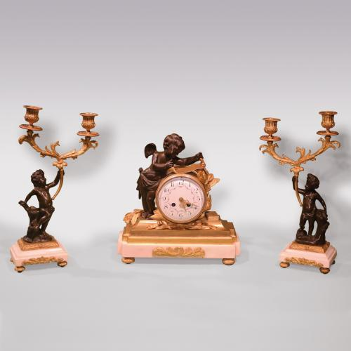 19th Century French bronze and ormolu Garniture