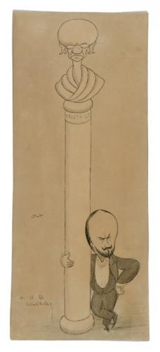 A bust of Aristotle with a portrait of A.B. Walkley leaning against its pedestal, Sir Max Beerbohm (British 1852-1956)