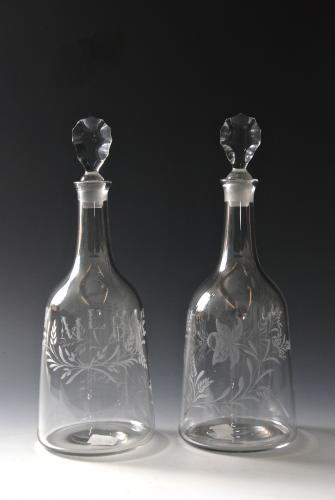 Rare pair of decanters engraved MLB. English c.1770