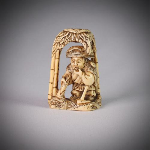 Ivory Netsuke of Moso in a Bamboo Grove
