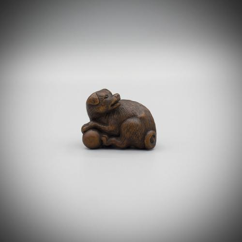 Boxwood Netsuke of a Dog by Tametaka