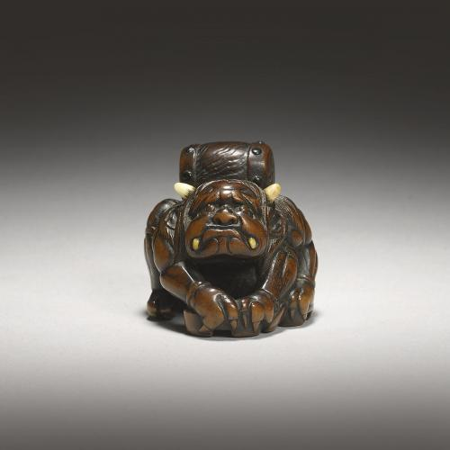Dark Stained Wood Netsuke of Raiden by Masasada